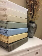 "650 Thread Count Striped Cotton Wrinkle Free Sheet Set 18"" Deep Pockets"