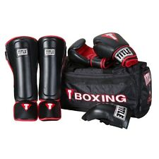 Title Boxing Bundle MMA Sparring Set Gloves Shin Guards Groin Protector Gym Bag