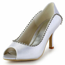 EP2077 Women Stiletto Heels Peep Toe Pumps Satin Rhinestones Bridal Party Shoes