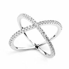 "925 Sterling Silver Pave CZ Cubic Zircon ""X"" Criss Cross Long Ring Wedding band"