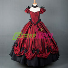 ROCOCO Ball Grown Gothic Medieval Renaissance Victorian Red Dress For Halloween