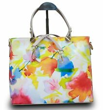 Made in Italy Real Leather Handbag With Handles Hobo Flower Print Multicolour