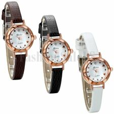 Women's Casual Round Dial Watches Leather Band Quartz Analog Wrist Watch Gift