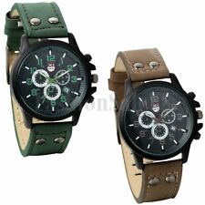 Men's Infantry Army Military Dial Leather Strap Quartz Wrist Watch With Date