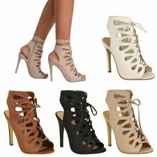 WOMENS LADIES HIGH HEEL STILETTO GLADIATOR LACE ZIP CUT OUT SANDALS SHOES SIZE