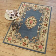 Blue Rug Traditional Aubusson Chinese Oriental style soft WOOL BNEW