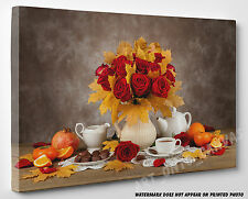 X LARGE CANVAS Bouquet of Red Roses Flowers & Yellow Leaves Photo Wall Art A1 A2