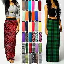 NEW LADIES WOMENS PRINTED JERSEY MAXI SKIRT GYPSY BODYCON SUMMER DRESS SIZE 8-26
