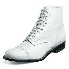 Stacy Adams Mens Madison White Leather Dress Trending Ankle Medium Wide Boot