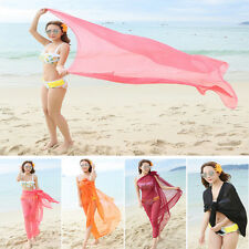 Elegant Women Chiffon Wrap Dress Sarong Pareo Sexy Beach Swimwear Cover Up Scarf