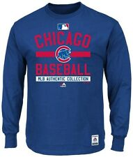 Chicago Cubs MLB Majestic Mens Long Sleeve Color Block Shirt Big & Tall Sizes