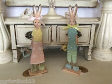 PAIR MR & MRS BUNNY STANDING DECORATION PASTEL  GIFT EASTER SHABBY CHIC SHABBY