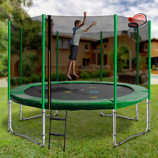 Round Trampoline with Slam Dunk Green - 5 Sizes - Free Delivery