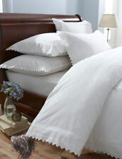 White Vintage Lace Broderie Anglaise Bedding / Duvet Cover Set