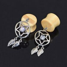 Dreamcatcher Ear Gauges Earlets Ear Flesh Tunnels Organic Bamboo Wood CZ 2pcs