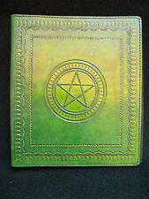 A5 Ring Binder - Hand-Tooled Leather - Pagan Wicca PENTACLE - in Green or Brown