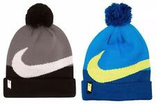 Nike Beanie Winter Pom Hat Boys Girls Blue Yellow Black Size 8-20 Free Shipping