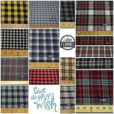 Cotton Flannel Plaid Tartan Double Brushed Fabric BTY by the yard