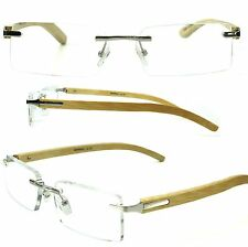 BAMBOO  Temple Rimless Reading Glasses Silver Metal Accents