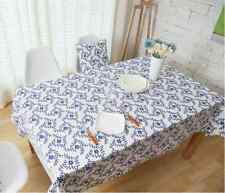Elegant Tiny Blue Flower Dinning Coffee Table Cotton Linen Cloth Covering O