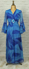 Vintage 80s Retro Victorian Style Dress Evening Cocktail Bell Sleeve UK 14/16
