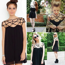 Fashion Black Women's Summer Sexy Casual Short Mini Evening Cocktail Party Dress