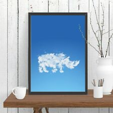Rhino Cloud Print Poster Blue Sky Whimsical Wall Decor Rhinoceros