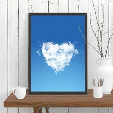 Love Heart Cloud Print Poster Blue Sky Whimsical Wall Decor