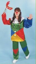 Clown Costume Patches Halloween Child Blue Red Boy's Girls Harlequin Large 12-14