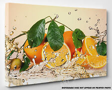 X LARGE CANVAS Orange Fruits and Splashing Water Abstract Wall Art A1 A2 A3