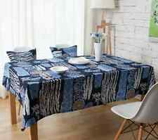 Elegant Blue Sunflower Dinning Coffee Table Cotton Linen Cloth Covering O
