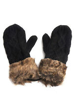 5X(S8 Ladies Wool Winter Snow Mittens Knitted Fleece Lined Fur Gloves-Black)