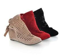 2016 New Women's Openwork Ankle Boots Strappy Hollow Flat Heel Shoes AU All Size