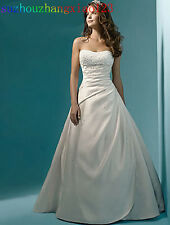 In Stock Dress Beading Crystal White/Ivory Satin A-Line Wedding Dress Size 4-22