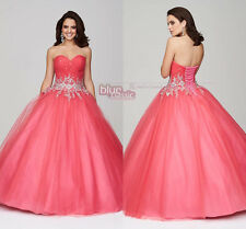 New Coral Pageant Princess Quinceanera Dresses Crystal Sweet16 Prom Wedding Gown