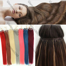 "16-26""Easy Loop Micro Rings Beads Ombre Remy Human Hair Extensions Straight 100s"