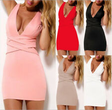 Women Summer Plunge V Neck Cocktail Evening Clubwear Sleeveless Wrap Dresses L54