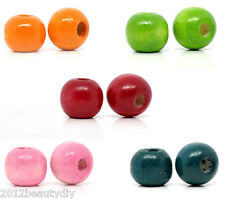 Wholesale Mixed Dyed Round Wood Spacer Beads 10x9mm