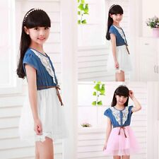 Kids Baby Girl Summer Princess Party Holiday Denim Lace Mesh Tulle Tutu Dresses