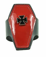 RED COFFIN SHAPE SKULL LEATHER PUNK GOTH ROCKABILLY FUNK BRACELET