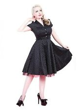 HEARTS AND ROSES LONDON BLACK WHITE POLKA DOT PINUP SWING 1950's VINTAGE DRESS