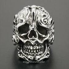 Huge Solid 316L Stainless Steel Skull Mens Biker Rocker Punk Ring 4M039E