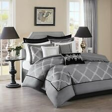 Luxury Black & Grey Comforter Set with Decorative Pillows Bedskirt AND Shams
