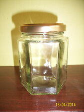 8oz GLASS HEXAGONAL JARS FOR CHUTNEY, MARMALADE OR JAM MAKING X 72