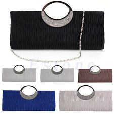 Ladies Pleated Diamante Crystal Clutch Evening Shoulder Bag Wedding Bridal Bag