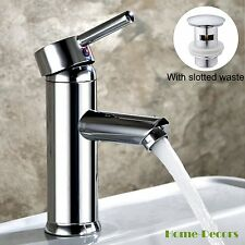 Modern Brass Chrome Bathroom Single Lever Basin Mono Mixer Tap + Pop up Waste UK