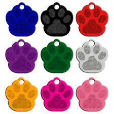 20pcs/lot Personalized Engraved Dog Cat Tags Paw Print Customed Dog Name ID Tags