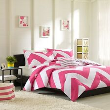Pink & White Chevron Comforter, Pillow Shams AND Decorative Pillow - ALL SIZES