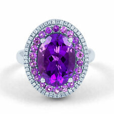NEW 9CT WHITE GOLD 0.22CT DIAMOND AMETHYST GEMSTONE OVAL SHAPE ENGAGEMENT RING
