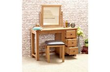 Country Solid Oak + Pine Wooden Dressing Table 3 Drawers Stool and Mirror Option